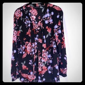 Lane Bryant Floral Pussy Bow Tie Blouse Size 14/16